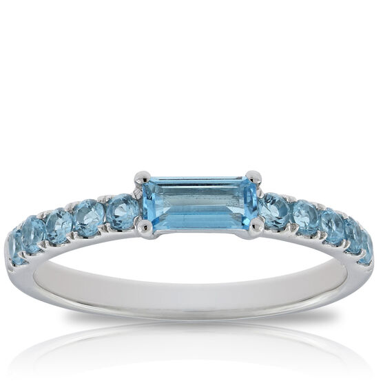 Blue Topaz Baguette Ring 14K