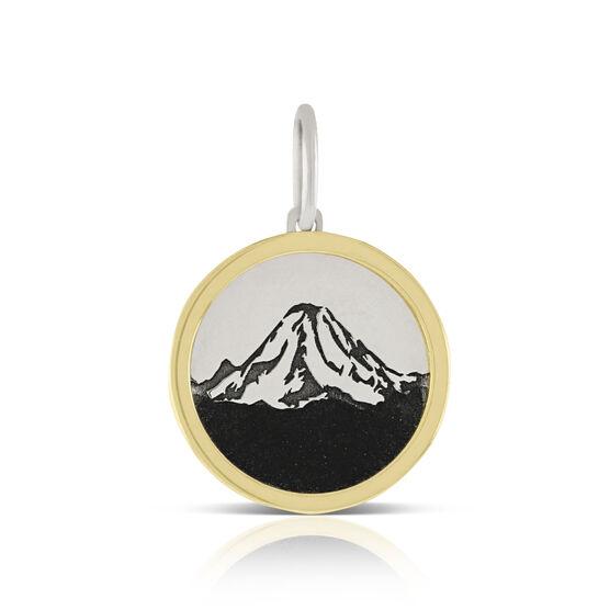 Mount Rainier Framed Charm / Pendant, Silver & 14K