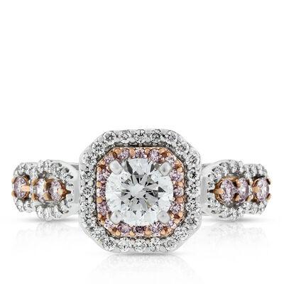 Pink & White Diamond Double Halo Ring 14K