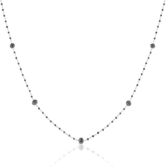 Black Diamond Bead Station Necklace 14K
