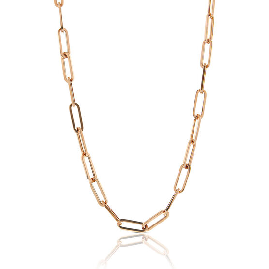"""Rose Gold Toscano Oval Paperclip Chain Necklace 14K, 24"""""""