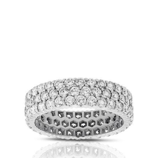Three Row Diamond Eternity Ring in Platinum, Size 7