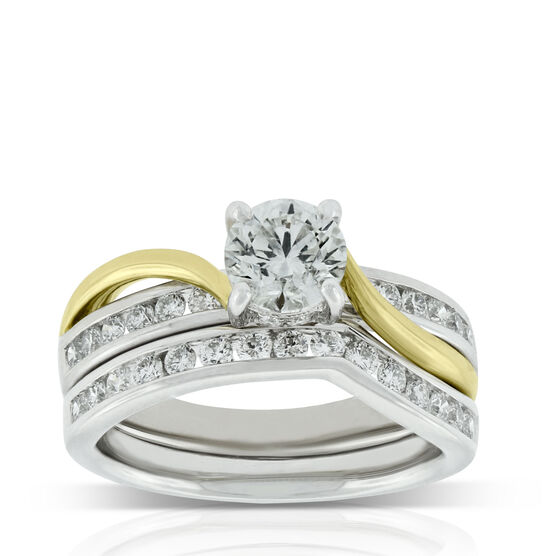 Two Tone Diamond Bridal Set 14K