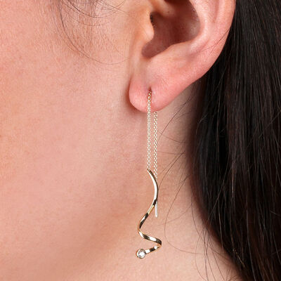 Squiggle Threader Diamond Earrings 14K
