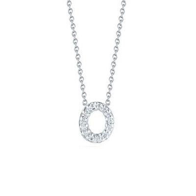 Roberto Coin Tiny Treasures Diamond Initial Pendant 18K Letter 'O'