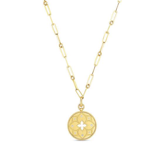 Roberto Coin Venetian Princess Diamond Medallion Necklace 18K