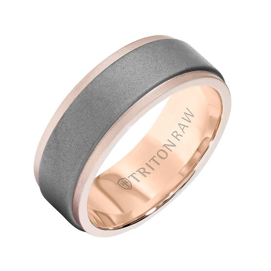 Rose Gold TRITON RAW Contemporary Comfort Fit Sandblasted Matte Finish Band in Tungsten & 18K, 8 mm
