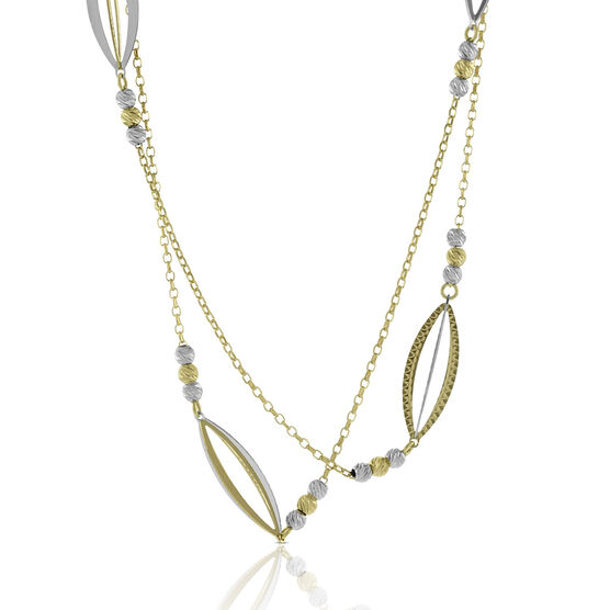 """Toscano Marquise Station Necklace 14K, 31.5"""""""