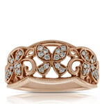 Rose Gold Butterfly Diamond Band 14K