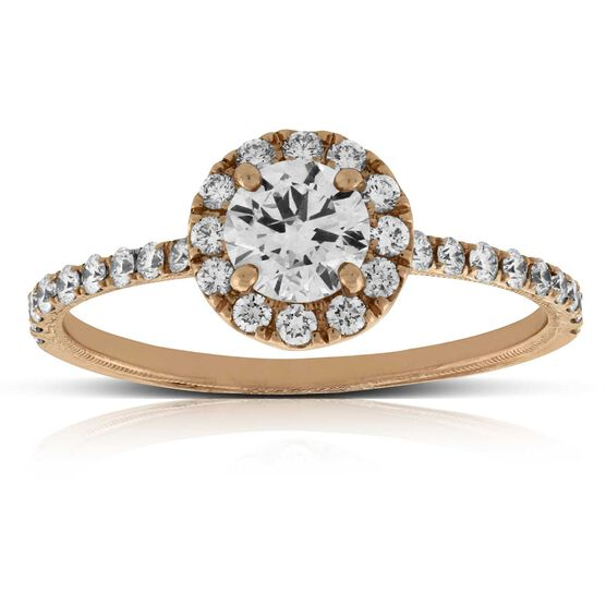 Rose Gold Diamond Halo Engagement Ring 14K