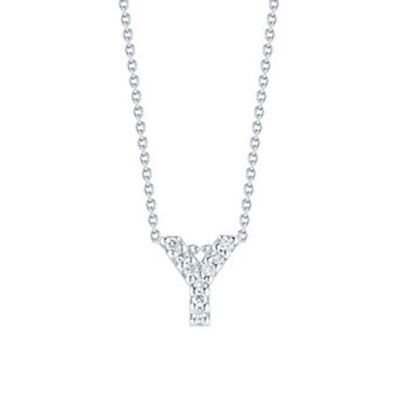 Roberto Coin Tiny Treasures Diamond Initial Pendant 18K Letter 'Y'