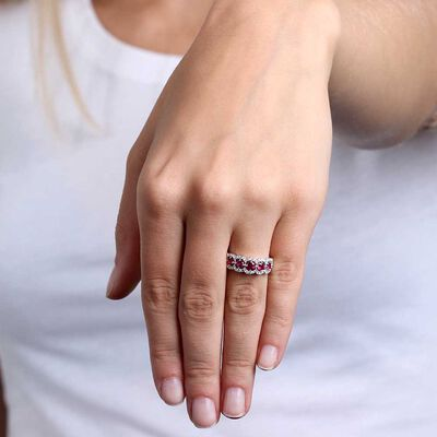 5-Stone Ruby & Diamond Ring 14K