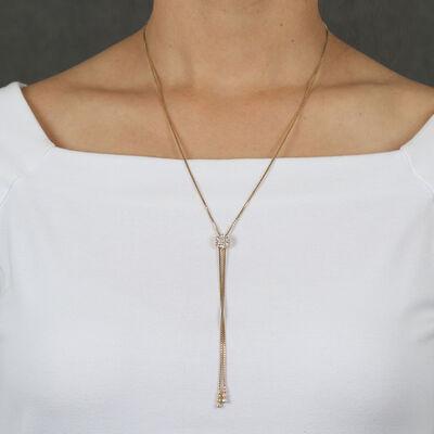 Diamond Cluster Bolo Necklace 14K