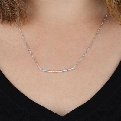 Curved Diamond Bar Necklace 14K