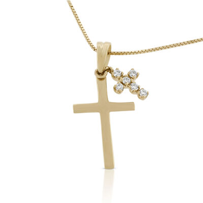 Diamond Dual Cross Pendant 14K