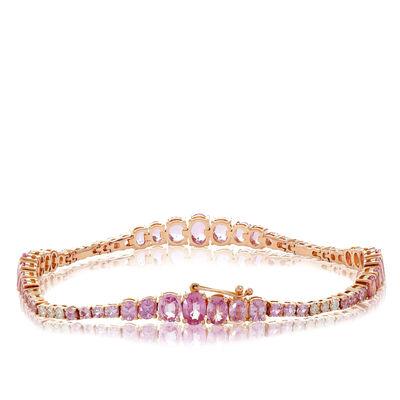 Rose Gold Ombré Pink Sapphire & Diamond Tennis Bracelet 14K