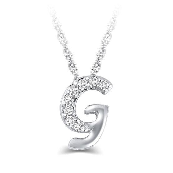 "Diamond ""G"" Initial Pendant 14K"