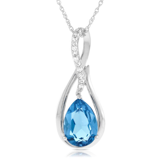 Pear Shaped Blue Topaz & Diamond Pendant 14K