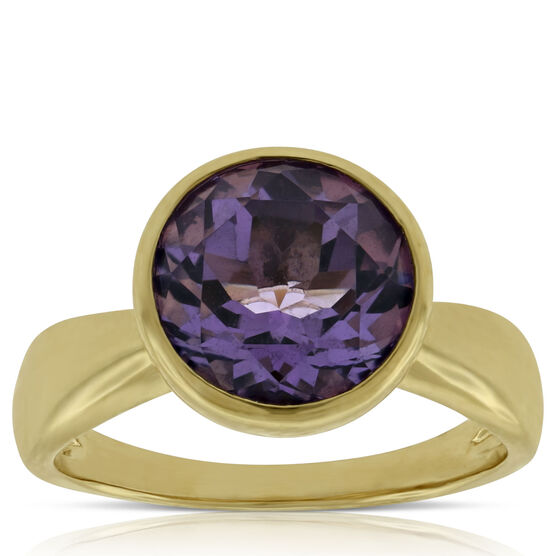 Bezel Set Amethyst Ring 14K