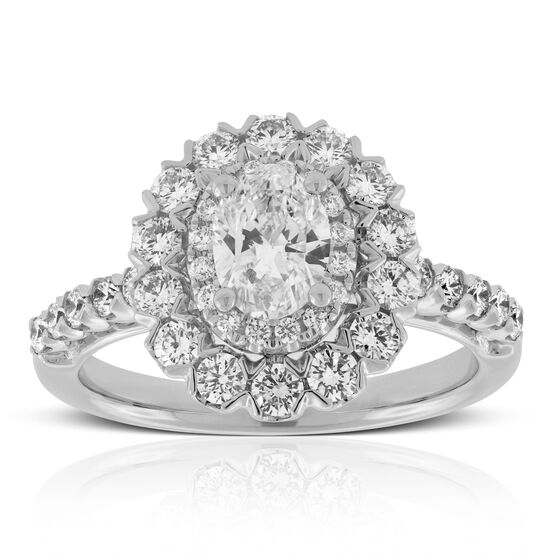 Double Halo Oval Diamond Ring 14K