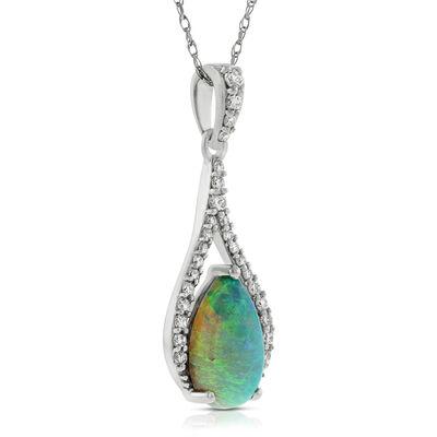 Opal & Diamond Pendant 14K