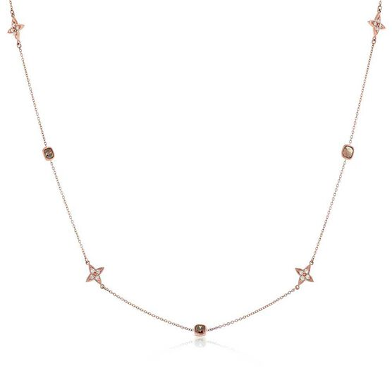 Rose Gold Brown & White Diamond Alternating Shapes Necklace 14K
