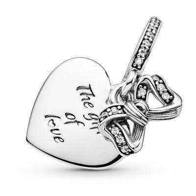 Pandora Bow & Love Heart CZ Dangle Charm