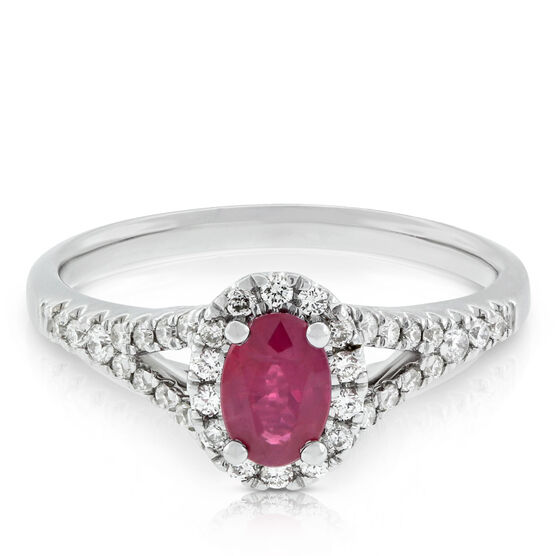 Oval Ruby & Diamond Halo Ring with Split Shank 14K