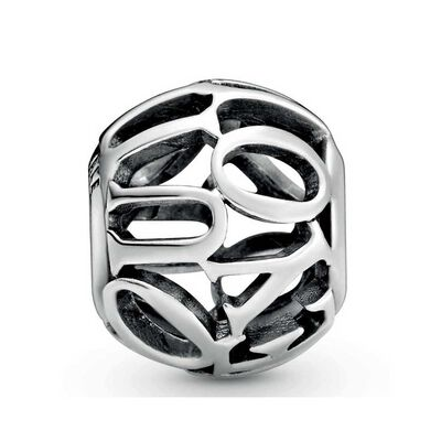 Pandora Openwork I Love You Script Charm