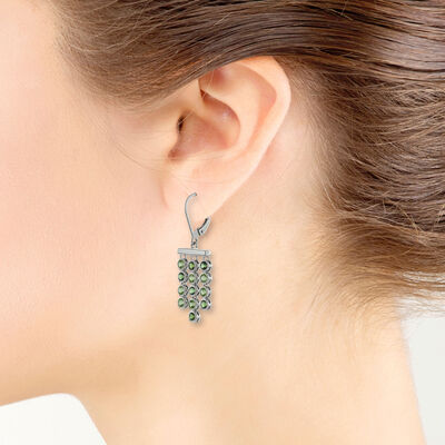 Lisa Bridge Bezel Set Peridot & Tourmaline Earrings