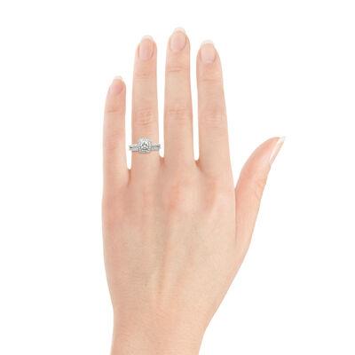 Diamond Halo Bridal Set 14K