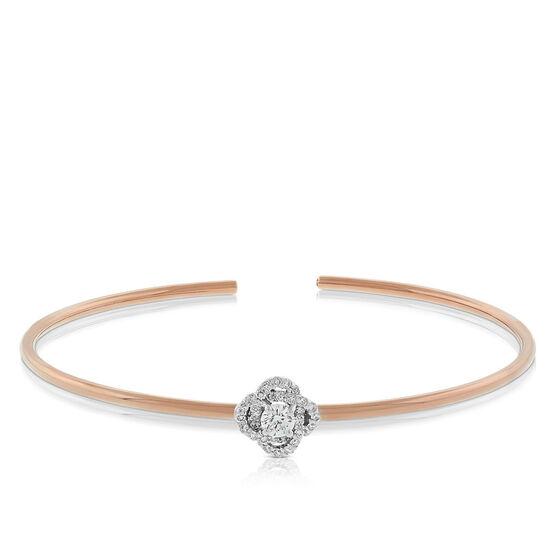 Rose Gold Signature Forevermark Diamond Flower Bangle 18K