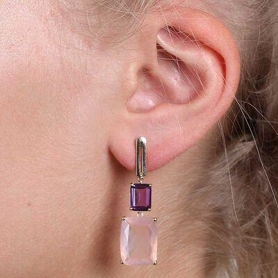 Rose Quartz & Amethyst Earrings 14K