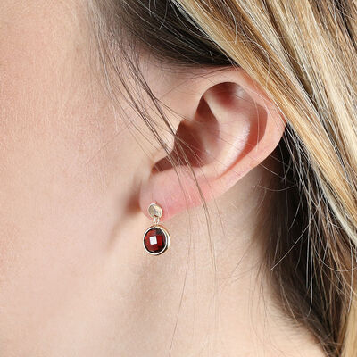 Round Bezel Set Garnet Earrings 14K