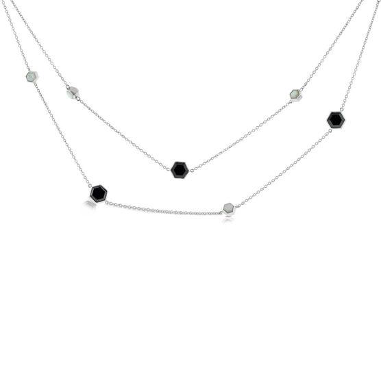 "Lisa Bridge Onyx & Mother of Pearl Necklace 36"""