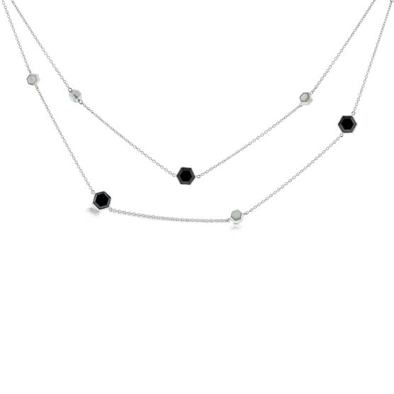 Lisa Bridge Onyx & Mother of Pearl Necklace 36""