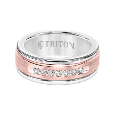Rose Gold TRITON Stone Custom Contemporary Comfort Fit Channel Set Diamond Band in White Tungsten & 14K, 8 mm