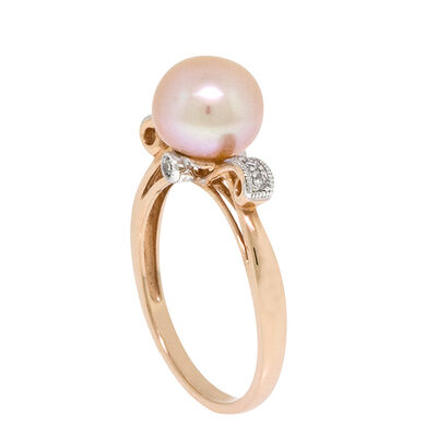 Rose Gold Pink Freshwater Cultured Pearl & Diamond Ring 14K