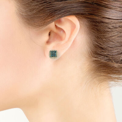 Cluster Alexandrite & Diamond Earrings 18K
