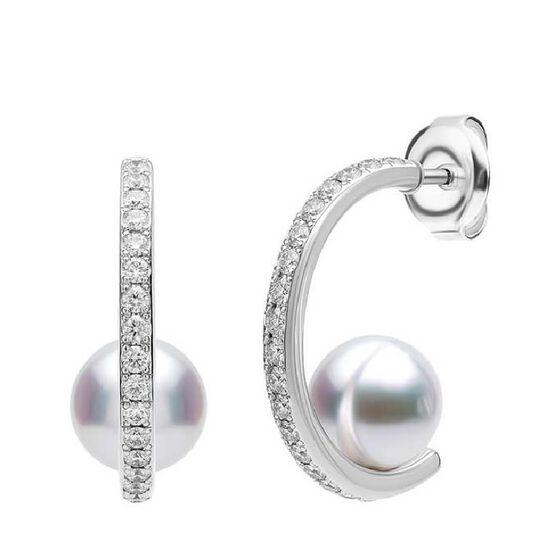 Mikimoto Floating Akoya Cultured Pearl & Diamond Mini Hoop Earrings 18K