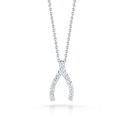 Roberto Coin Tiny Treasures Diamond Wishbone Pendant 18K