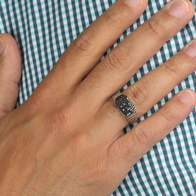 Black Diamond Wide Men's Ring in Silver