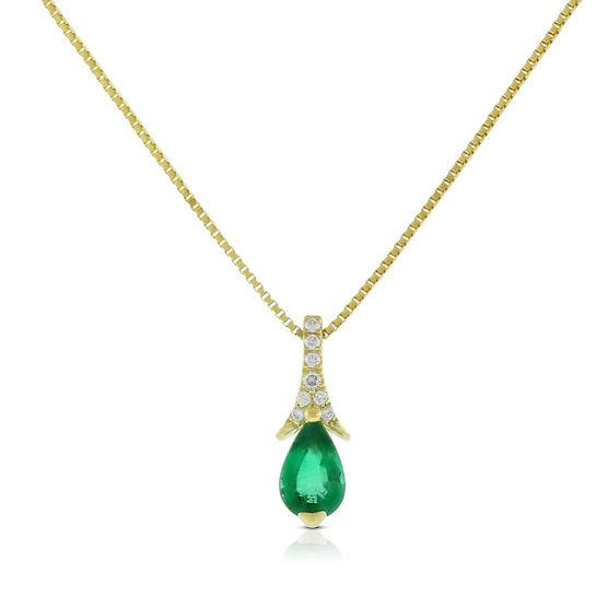 Pear-Shaped Emerald & Diamond Necklace 14K
