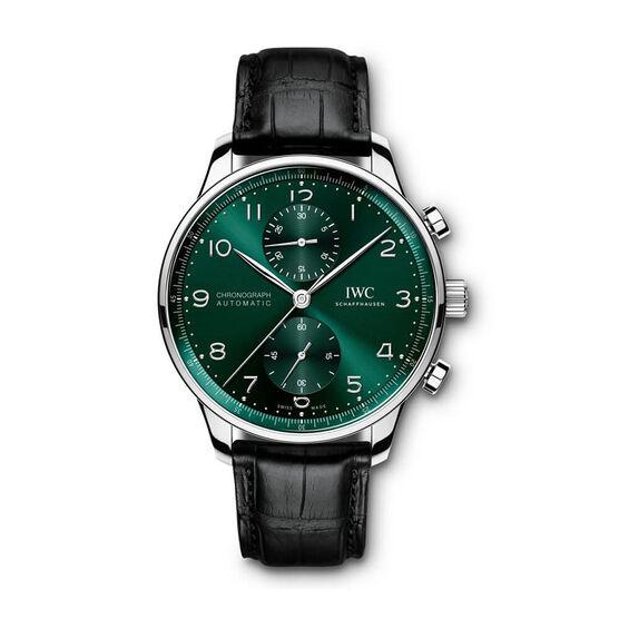 IWC Portugieser Green Dial Alligator Chronograph Watch, 41mm