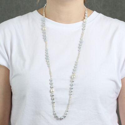"Graduated Cultured Gray & White Baroque Pearl Strand in Silver, 35"""
