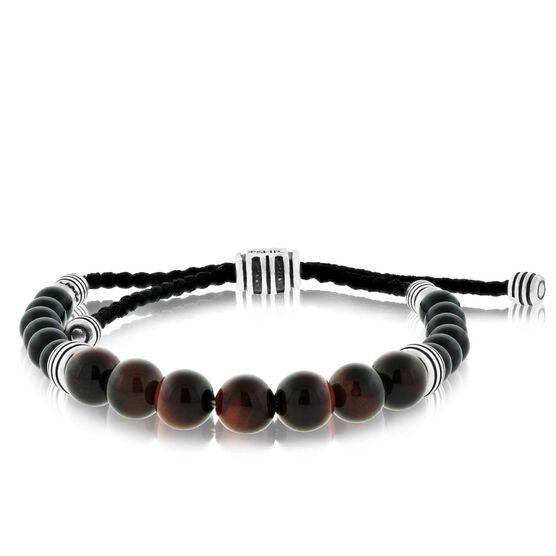 Tiger's Eye & Onyx Bolo Bracelet in Sterling Silver