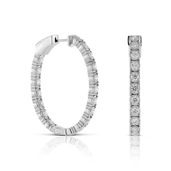 Oval Diamond Hoops 14K, 3 ctw.