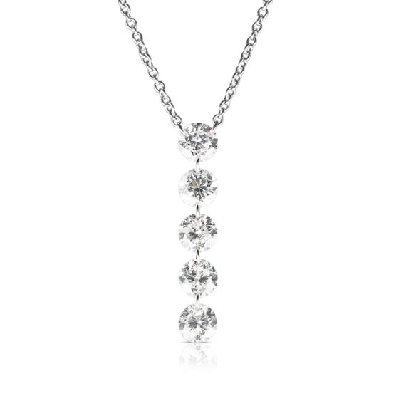 Drilled Collection 5-Diamond Line Necklace 18K