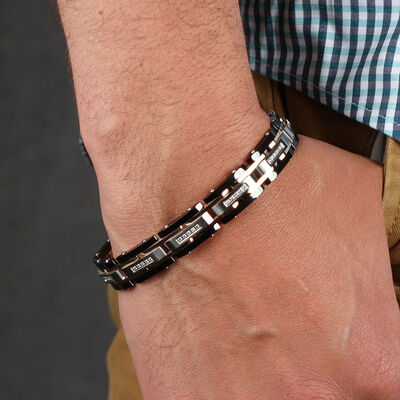 Stainless Steel Men's Diamond Bracelet