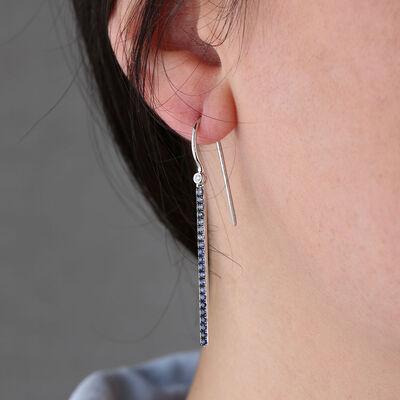 Sapphire & Diamond Bar Drop Earrings 14K